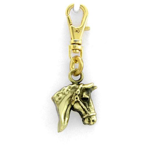 Horse Head Brass Zipper Pull
