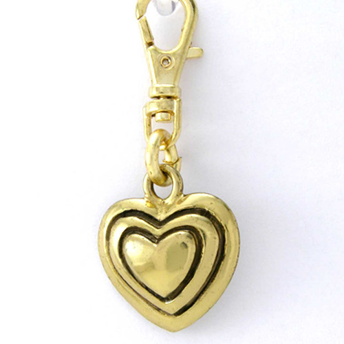 3 Tier Heart Charm Brass Zipper Pull