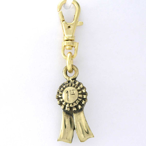 First Place Ribbon Brass Zipper Pull