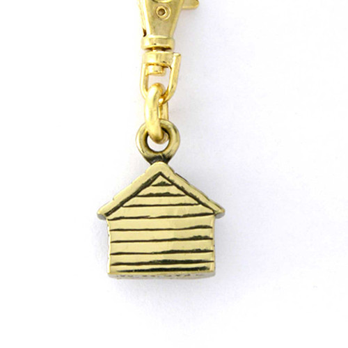 Brass Dog House Zipper Pull - back