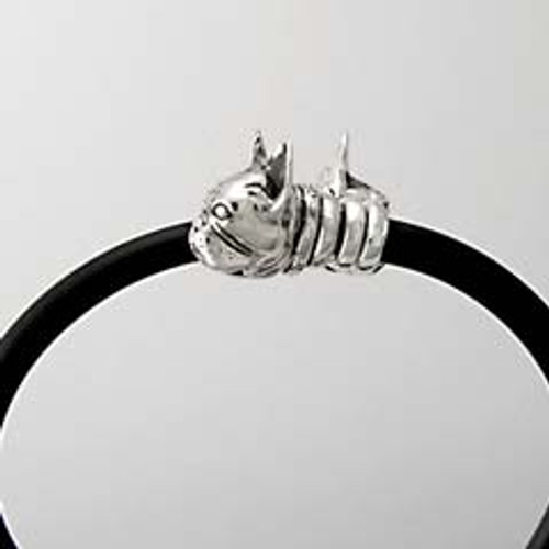 Frenchie Gemini Silver and Rubber Bracelet