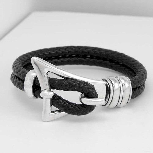 Buckle Clasp Braided Leather Bracelet