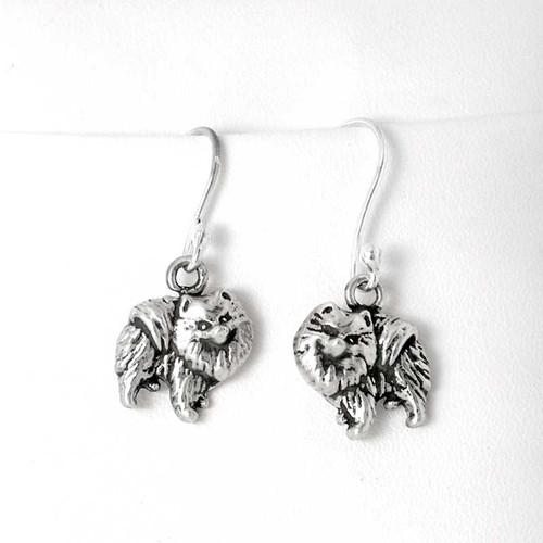 Pomeranian Earrings Sterling Silver