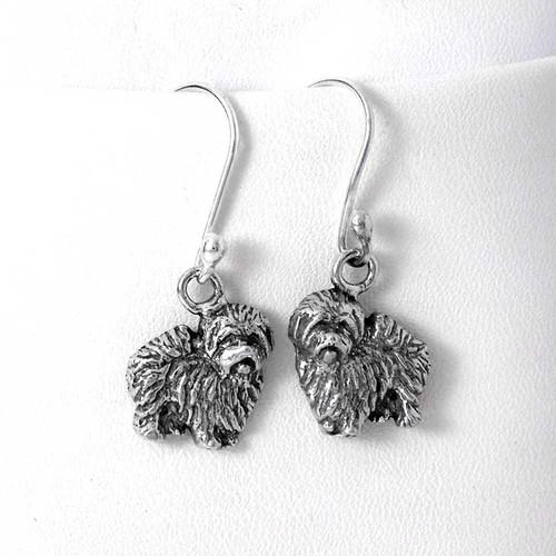 Coton de Tulear Sterling Silver Earrings
