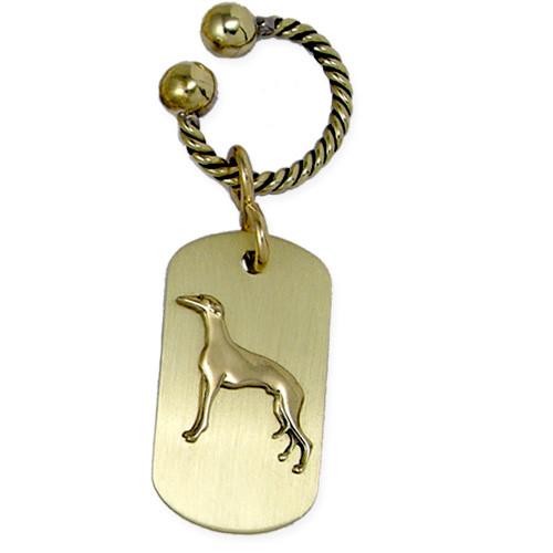 Brass ARF Tag with Greyhound on Twisted U Keychain- vertical