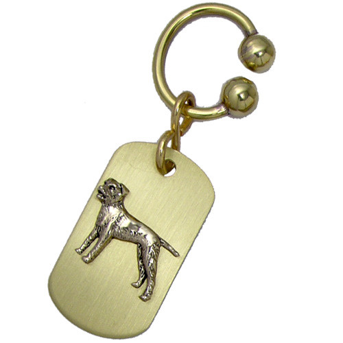 Brass ARF Tag with Border Terrier on Classic U Keychain - vertical