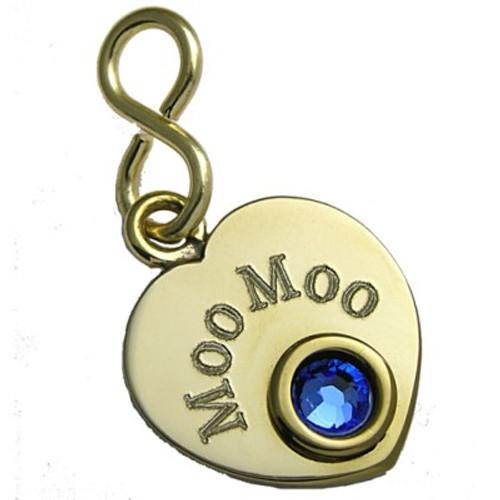 Heart Tag with Swarovski Crystal Brass
