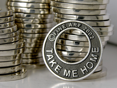 Stack of the FineARF Take Me Home Tag Sterling Silver