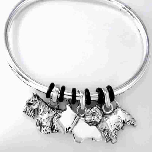 Silver Bangle with 3 Large Terrier Charms - engraved