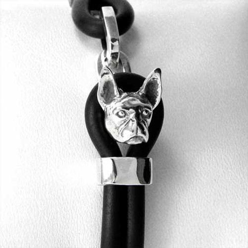 Boston Terrier Silver and Rubber Bracelet