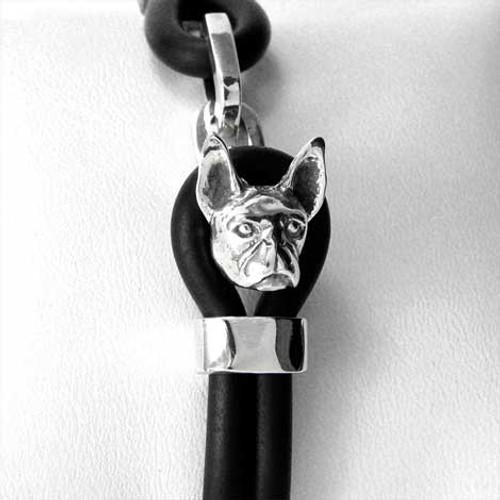 Boston Terrier Silver and Rubber Bracelet