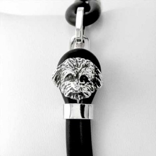 Maltipoo Silver and Rubber Bracelet