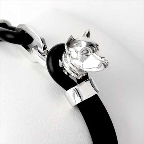 Pit Bull Silver and Rubber Bracelet