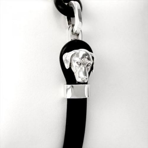 Vizsla Silver and Rubber Bracelet