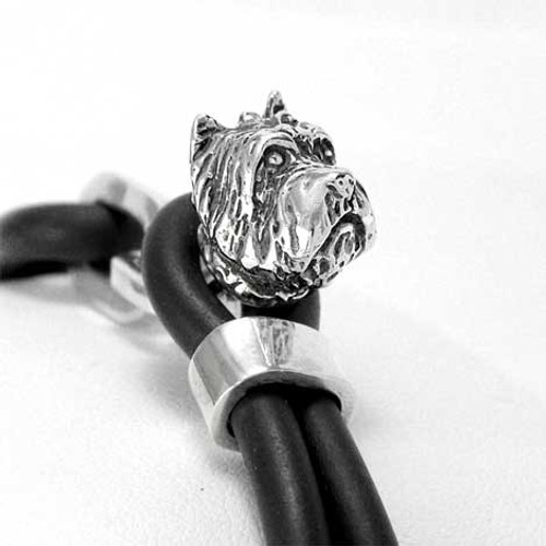 Westie Silver and Rubber Bracelet