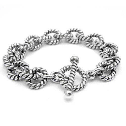 Twisted Silver Link Bracelet - Heavy