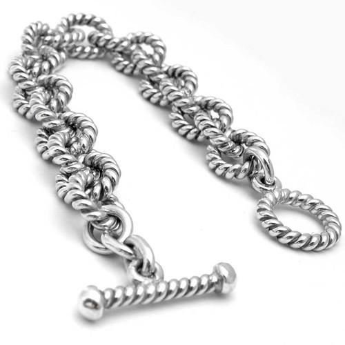 Heavy Link Twisted Silver Bracelet