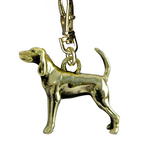 Black and Tan Coonhound Brass Zipper Pull