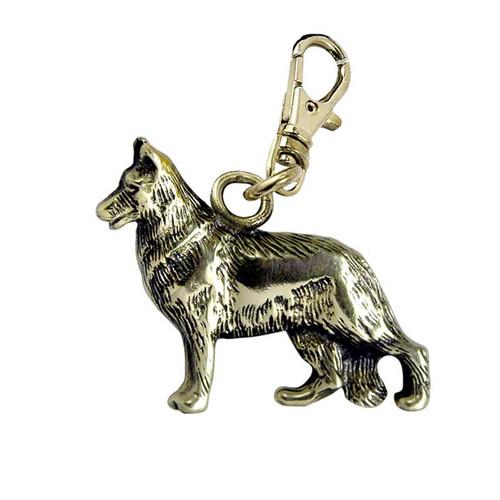 German Shepherd Brass Zipper Pull