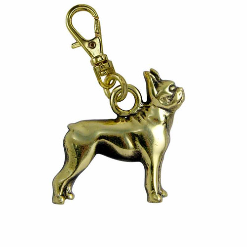Boston Terrier Brass Zipper Pull
