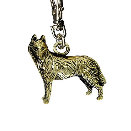 Siberian Husky Brass Zipper Pull