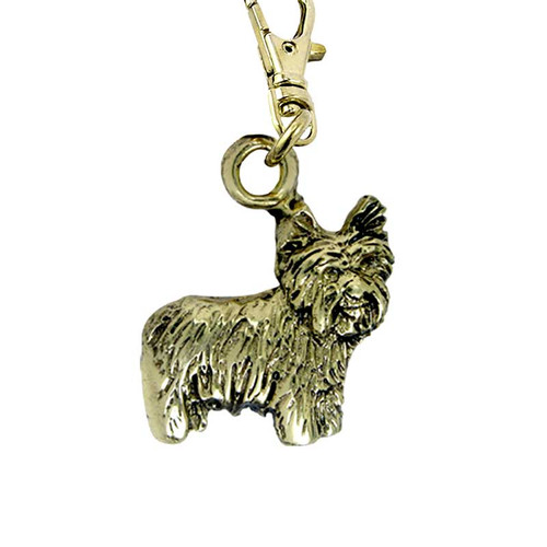 Yorkie Puppy Brass Zipper Pull