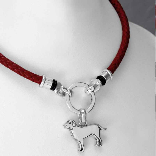 Braided Leather Necklace with Ring