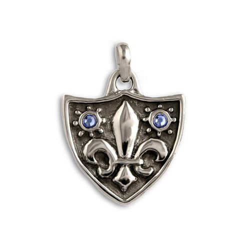 Fleur de Lys Pendant with Swarovski Crystals in Silver