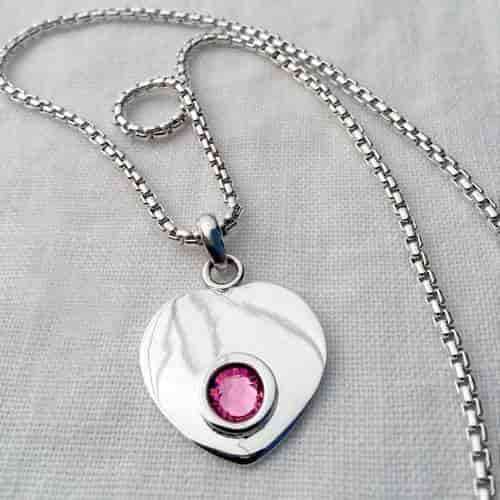 Silver Stone Heart Necklace - 18 inch with Swarovski Crystal