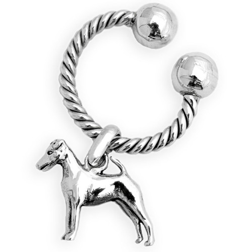 Classic U Sterling Silver Keychain Twisted Wire - Sooth Fox Terrier Charm Large