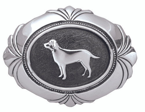 Sterling Silver Concho Style Belt Buckle with Labrador design