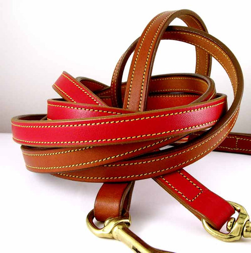 American Bridle Leather 5 foot dog leash - red and tan