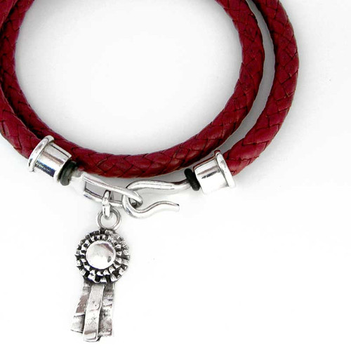 Braided Leather Wrap Bracelet with award charm