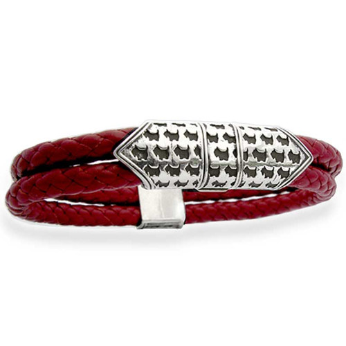 Scottie Clasp Braided Leather Bracelet Mens