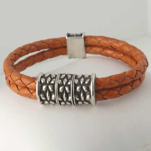 Art Nouveau Clasp Braided Leather Bracelet