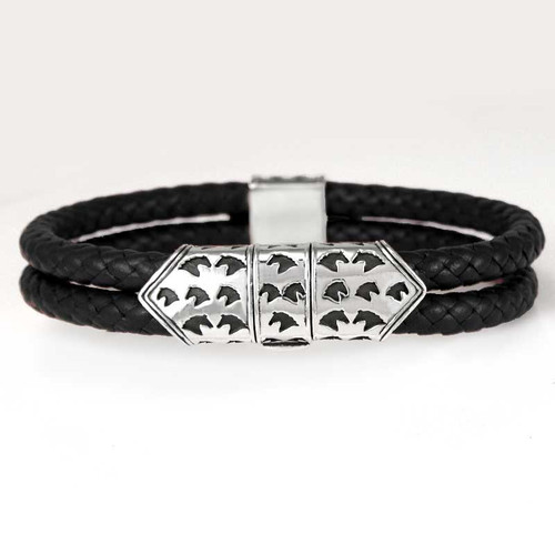 Sterling Silver Horse Clasp on Braided Leather Bracelet