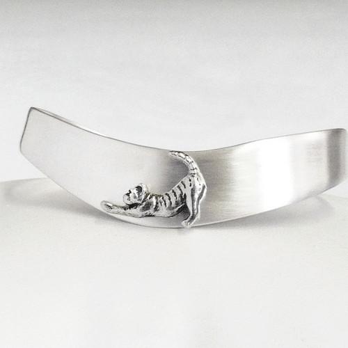 Wave Cuff Cat Bracelet, sterling silver