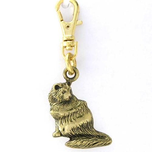 Brass Persian Cat Zipper Pull Charm