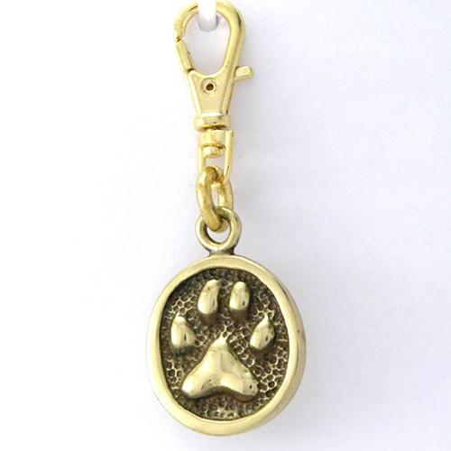 Cat Paw Print Zipper Pull Charm Brass