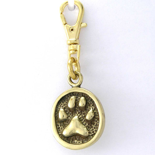Cat Paw Print Zipper Pull Charm Brass