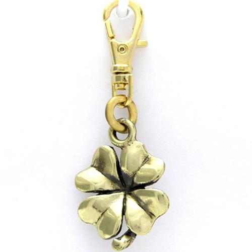 Four Leaf Clover or Shamrock Brass Zipper Pull Charm front