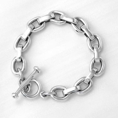 Sterling Silver Smooth Square Link Bracelet