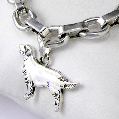 Golden Retriever on Sterling Silver Smooth Square Link Bracelet