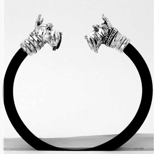 Gemini Scottie Bracelet in sterling silver and rubber