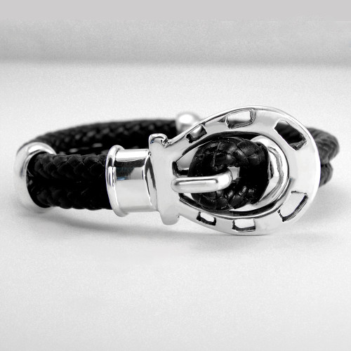 Horse Shoe Clasp Braided Columbian Leather Bracelet