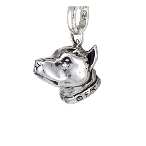 Silver Pit Bull Head Pendant