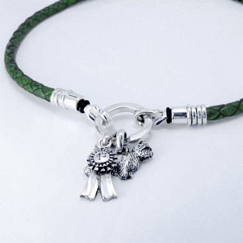 Braided Leather Charm Necklace