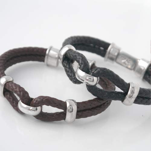 8 part Columbian Leather Bit Box Clasp Bracelet