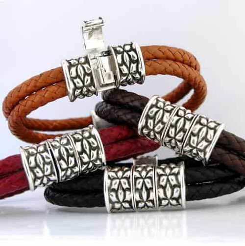 Art Nouveau Clasp Braided Leather Bracelet