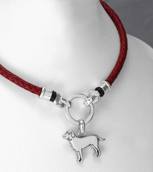 Labrador Retriever in sterling silver Braided Leather Ring Necklace